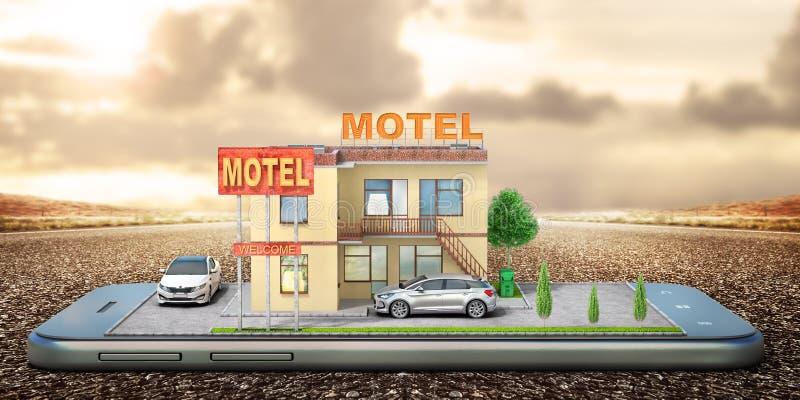 Motel en la pantalla del aislamiento del teléfono en un blanco ilustración 3D libre illustration