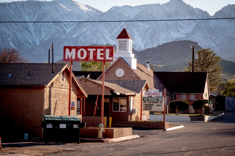 Motel in the historic village of Lone Pine - LONE PINE CA, USA - MARCH 29, 2019. Motel in the historic village of Lone Pine - LONE PINE CA, UNITED STATES OF royalty free stock image