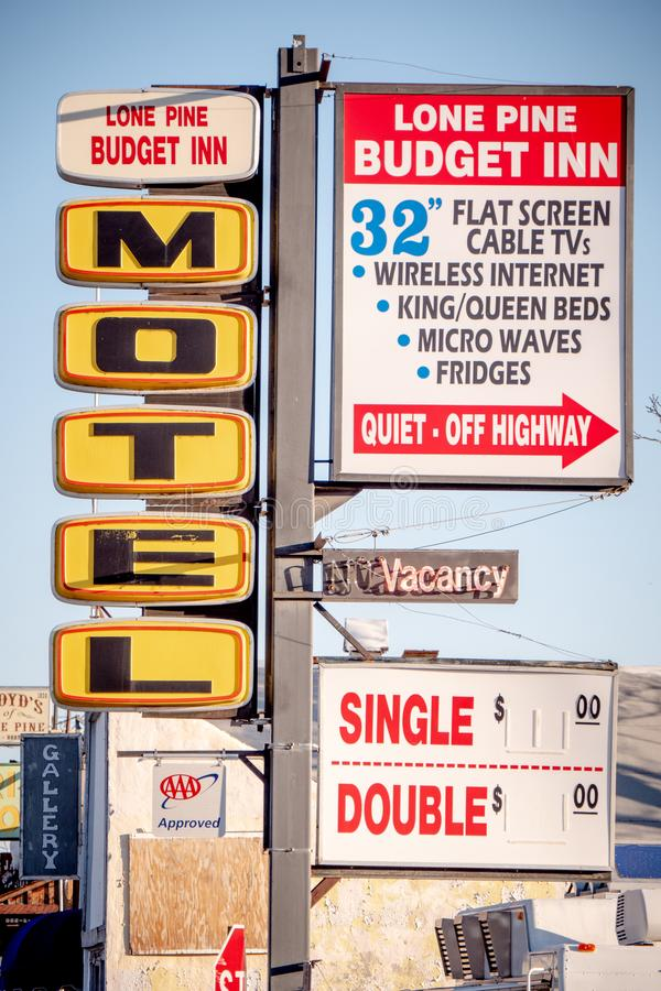 Motel in the historic village of Lone Pine - LONE PINE CA, USA - MARCH 29, 2019. Motel in the historic village of Lone Pine - LONE PINE CA, UNITED STATES OF royalty free stock images