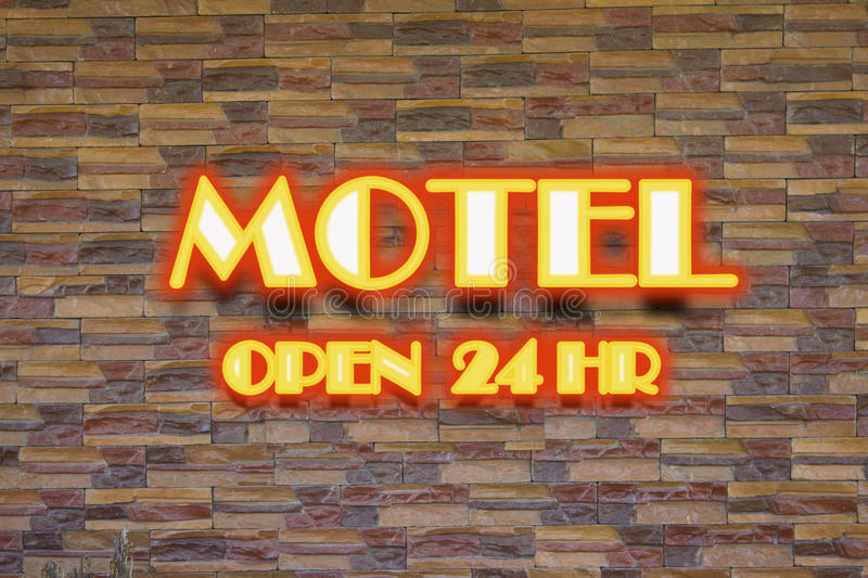 Download Motel and 24 hr  neon sign stock image. Image of signage - 32867789