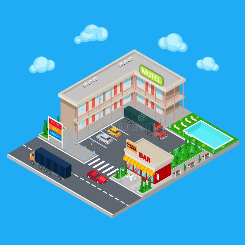 Motel isométrico con zona de estacionamiento, la barra y la piscina Hotel moderno del camino ilustración del vector