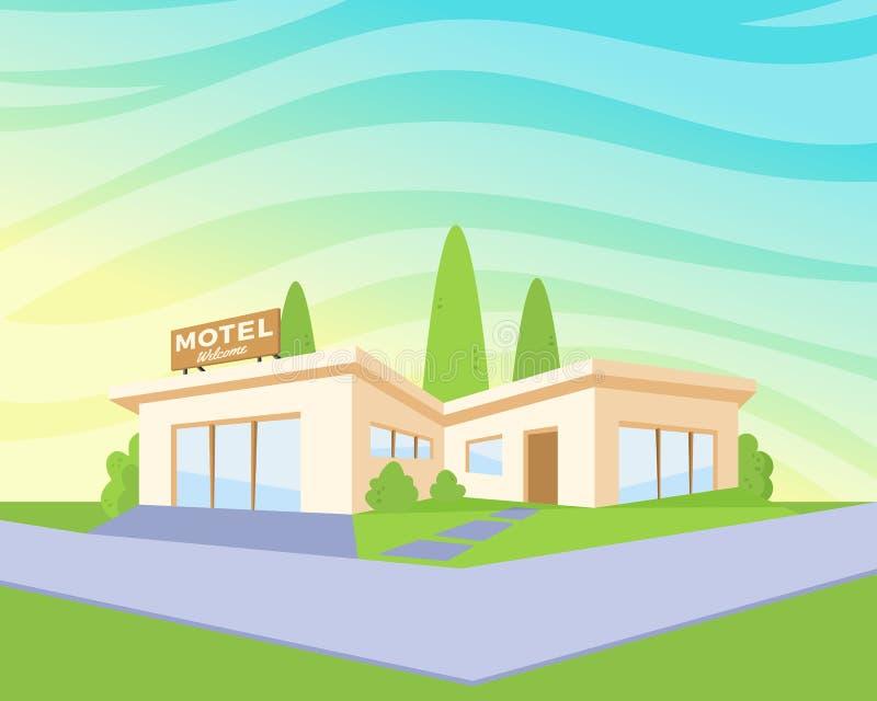 Motel moderno de la arquitectura del estilo plano con el césped y los árboles verdes Dibujo del paisaje del vector en la opinión  stock de ilustración
