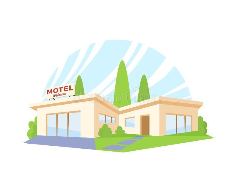 Motel moderno de la arquitectura del estilo plano con el césped y los árboles verdes Dibujo del vector en la opinión de perspecti libre illustration