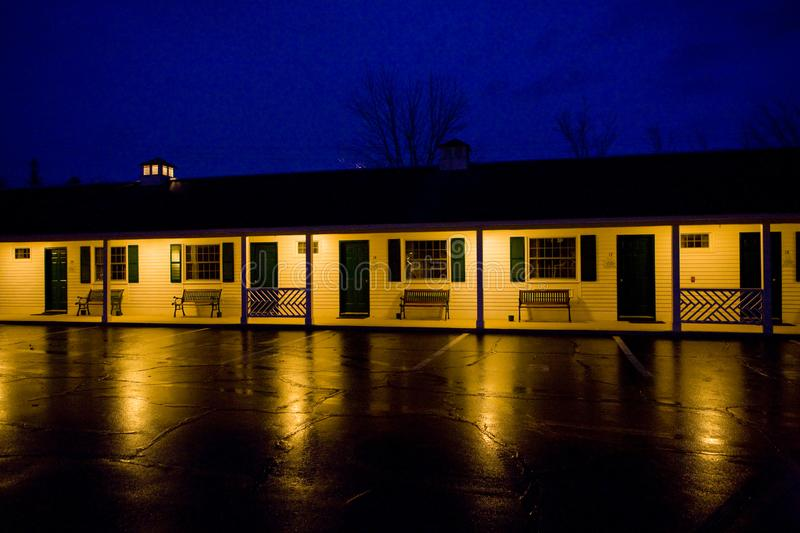 Motel at night, North Conway, New Hampshire, USA. Outdoor, outdoors, outside, exterior, exteriors, america, united, states, england, architecture, building royalty free stock image