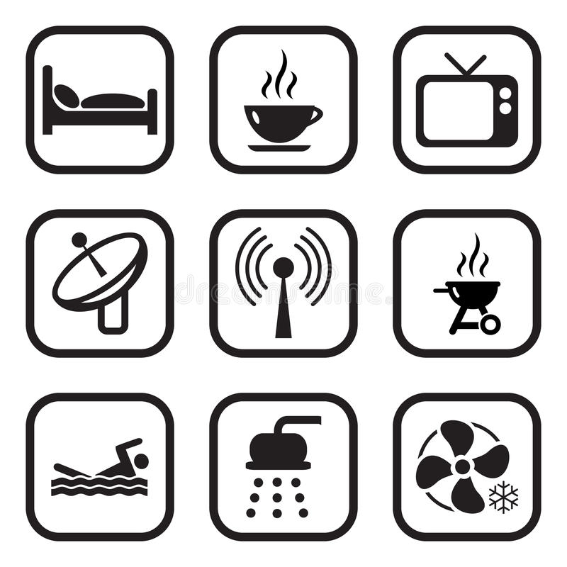 Free Motel Or Hotel Icons Stock Images - 37497674