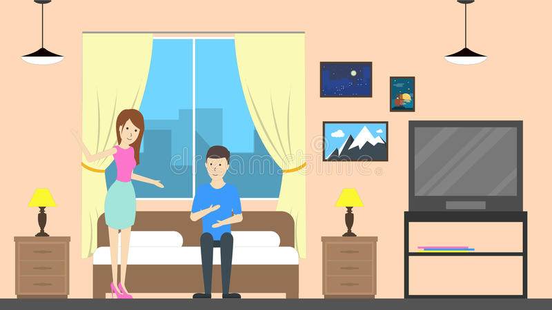 Motel room with host. Hostel room service with host. Contemporary design. Couple royalty free illustration