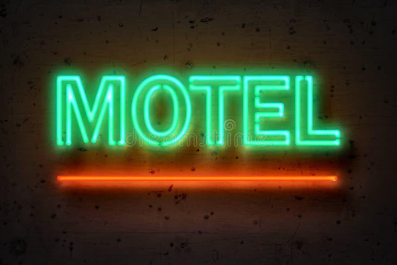 Motel, señal de neón en el muro de cemento stock de ilustración