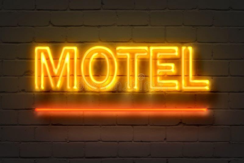 Motel, señal de neón en la pared de ladrillo stock de ilustración