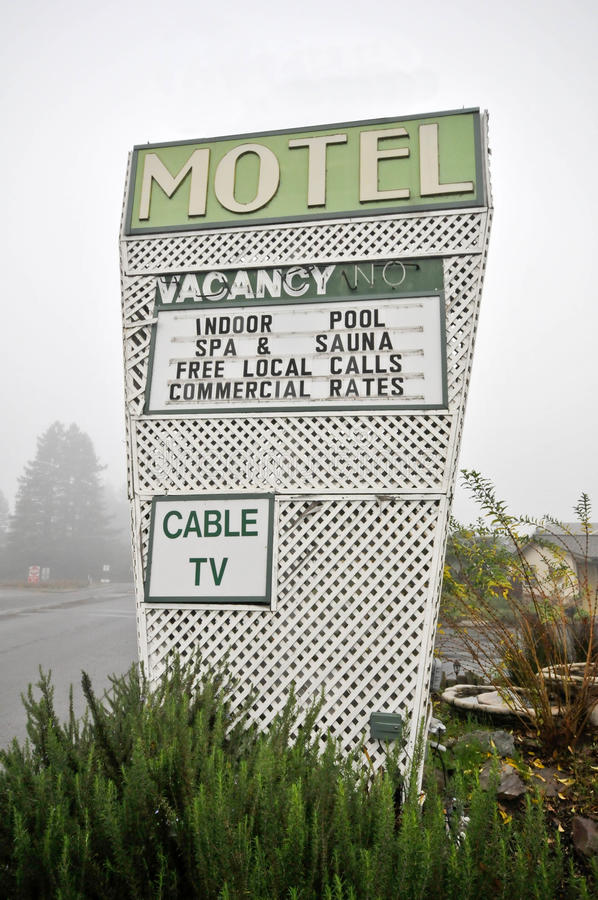 Download Motel Sign With Pool Cable TV Spa Sauna Stock Photo - Image: 17882916
