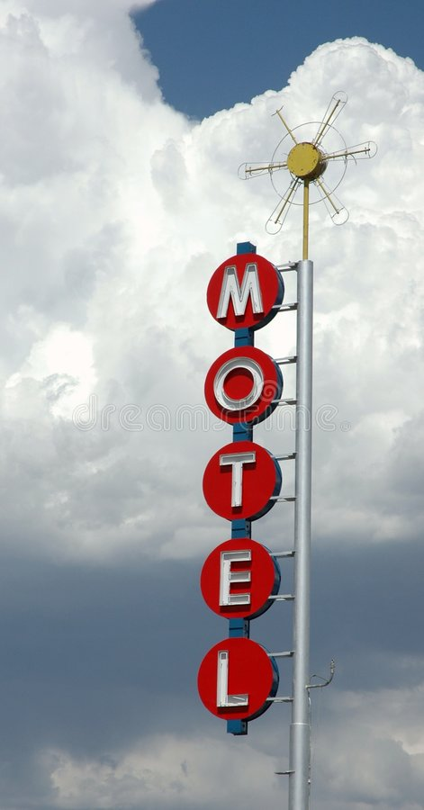 Motel in the sky. Vintage neon sign on route 66, new mexico royalty free stock photo