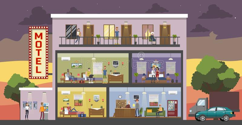 Motellstadsbyggnad stock illustrationer