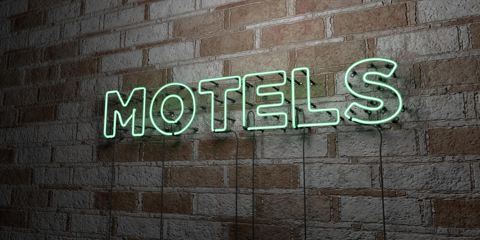 MOTELS - Glowing Neon Sign on stonework wall - 3D rendered royalty free stock illustration. Can be used for online banner ads and direct mailers royalty free illustration