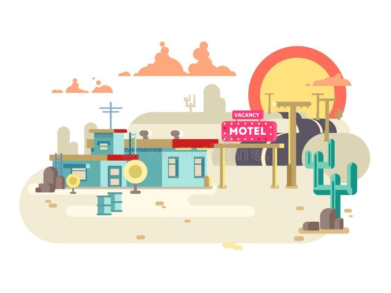 Motelu płaski projekt royalty ilustracja