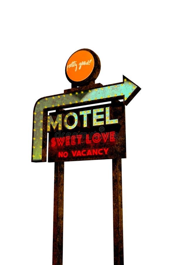 Motelzeichenweinlese lizenzfreie abbildung