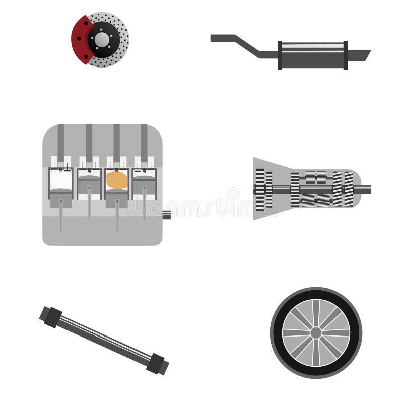 Moteur à combustion interne, boîte de vitesse, freins, silencieux de voiture, roues illustration stock