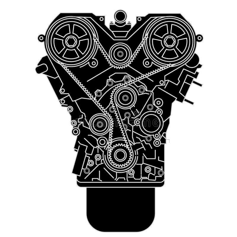 Moteur à combustion interne, comme vu de dans l'avant. illustration de vecteur