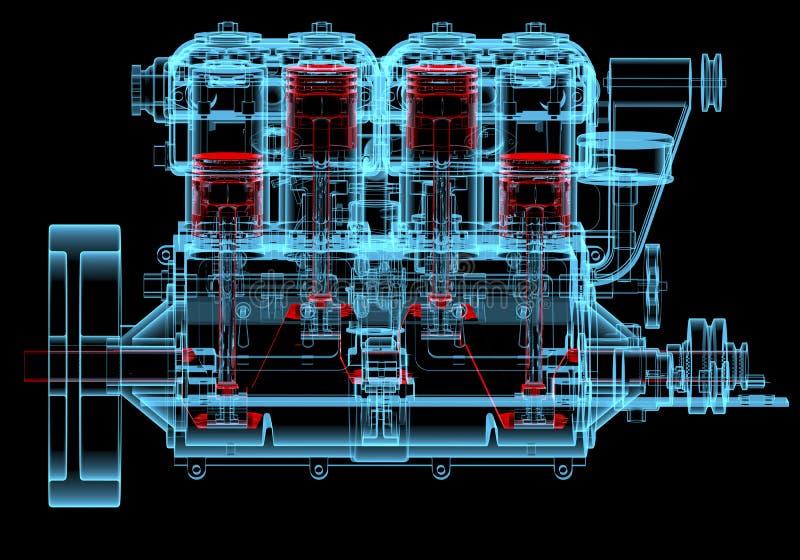 Moteur à combustion interne (transparents rouges et bleus de rayon X 3D) illustration libre de droits