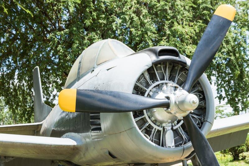 moteur à piston rond de vieux avions image libre de droits
