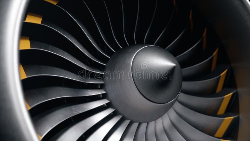 moteur à réaction de l'illustration 3D, lames en gros plan de moteur à réaction de vue Lames tournantes du turbor?acteur Une part illustration de vecteur