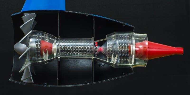 Moteur à réaction de turbine qui emploie l'aviation moderne photo libre de droits
