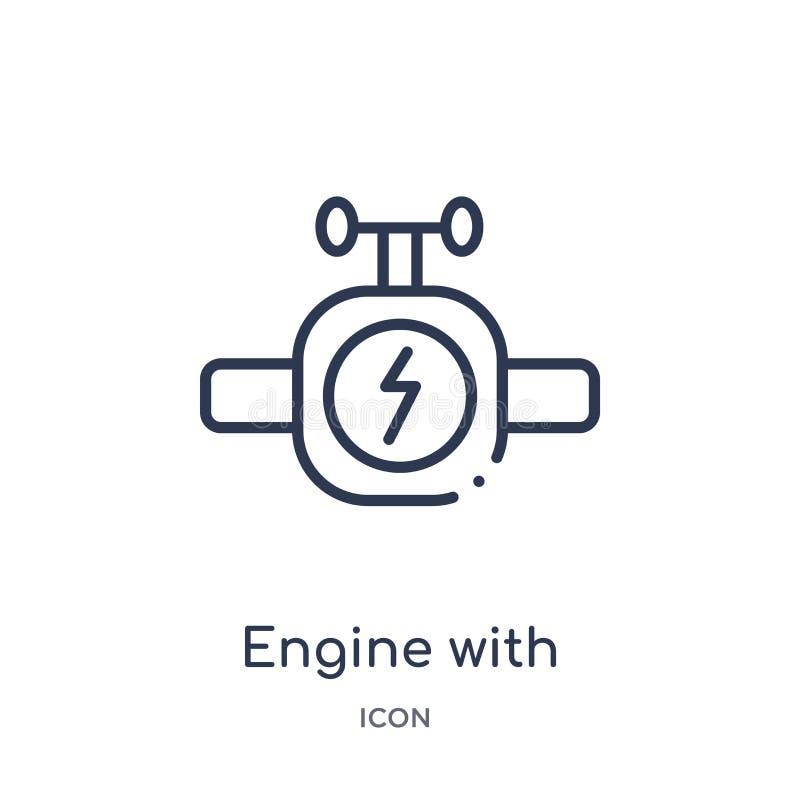 moteur avec allumer l'icône de boulon de la collection d'ensemble d'outils et d'ustensiles Ligne mince moteur avec allumer l'icôn illustration stock