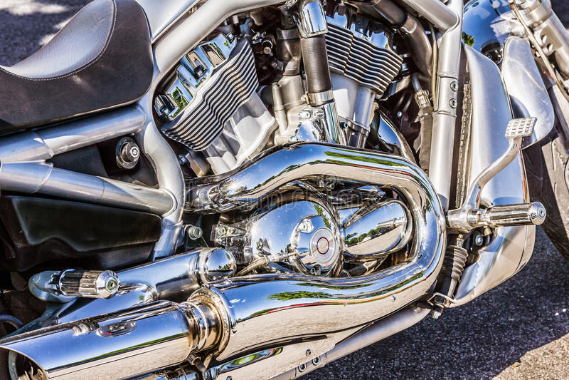 Moteur brillant de chrome de Harley Davidson photographie stock