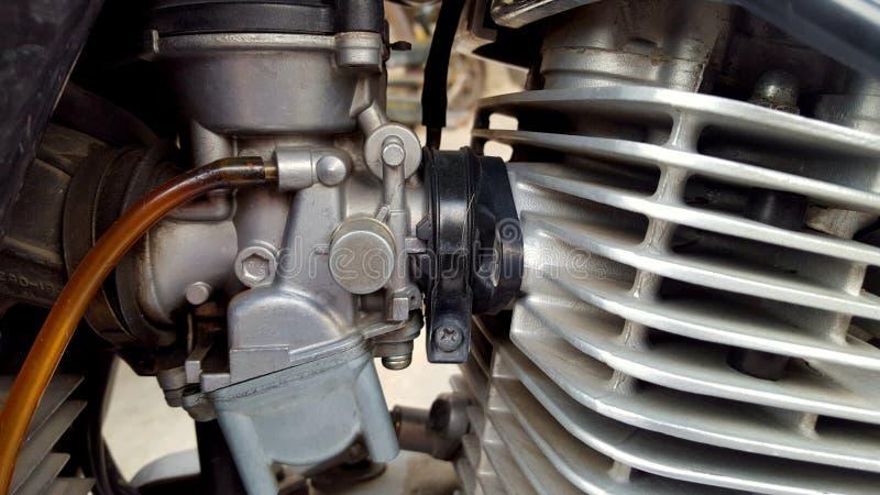 Moteur de moto de Cilinder, carburateur en tant que fournisseur de carburant photo stock