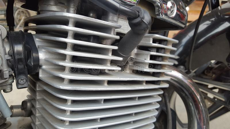 Moteur de moto de Cilinder, carburateur en tant que fournisseur de carburant image stock
