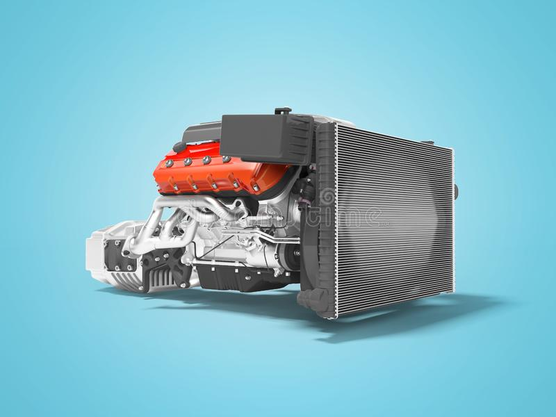 Moteur de voiture avec la transmission de gril de radiateur avec les filtres à air 3d rendre sur le fond bleu avec l'ombre illustration stock