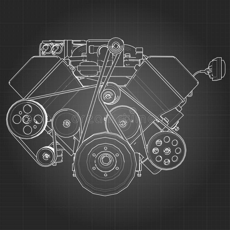 Moteur de voiture puissant de V8 Le moteur est dessiné avec les lignes blanches sur une feuille noire dans une cage illustration de vecteur