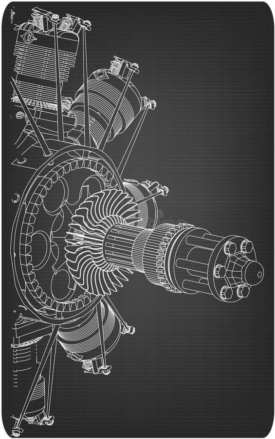 Moteur radial sur un gris illustration stock