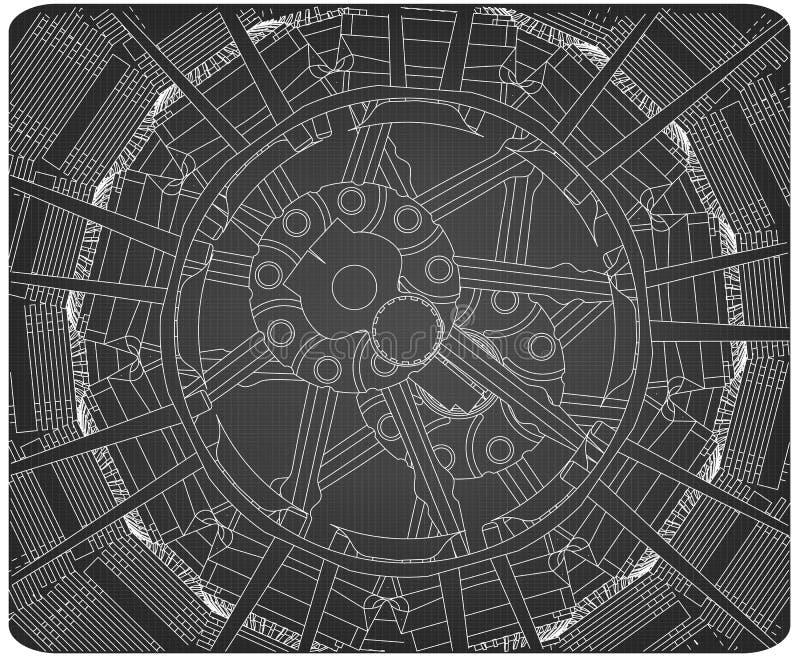 Moteur radial sur un gris illustration libre de droits