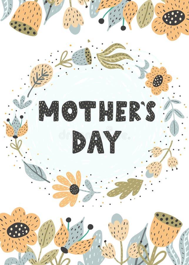 Mother's dnia kartka z pozdrowieniami z modnymi kwiatami ilustracja wektor
