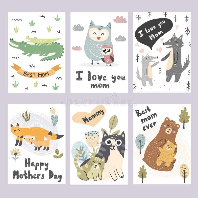 Mother's dnia kartki z pozdrowieniami inkasowe Śliczni zwierzę druki ilustracja wektor