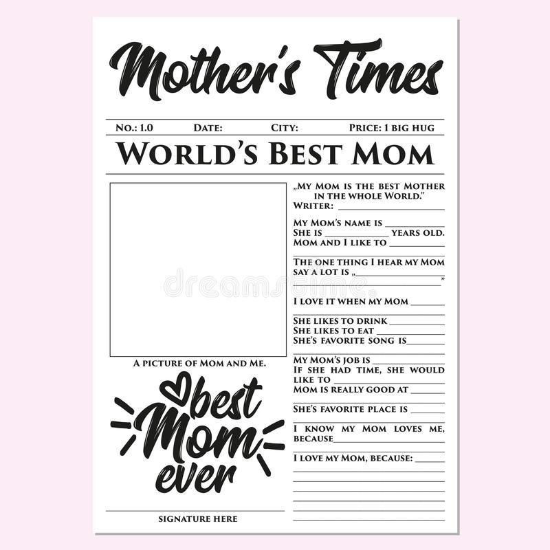 Mother'stijden - Moederdaggift, geheugen, snel, gemakkelijk, prachtig, wat betreft gift vector illustratie