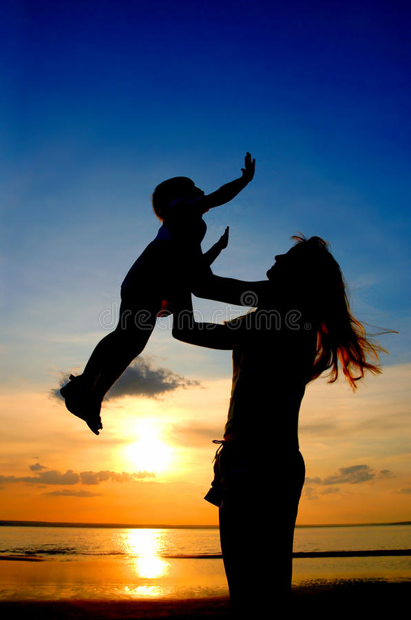 Free Mother And Child On Sundown Stock Image - 10915131