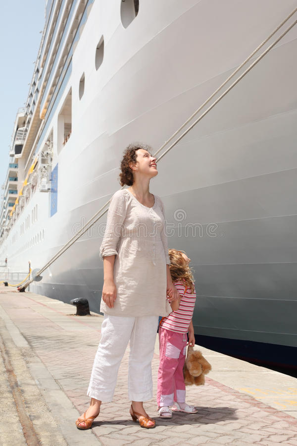 Free Mother And Daughter Standing In Near Cruise Liner Royalty Free Stock Photo - 16179845