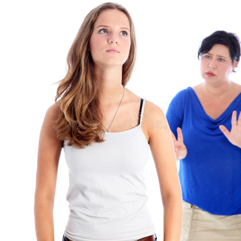 Mother arguing with her daughter stock photos