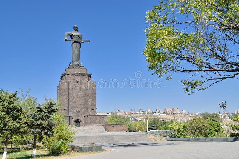 Mother Armenia statue in Victory Park. Yerevan, Armenia. The Mother Armenia statue symbolises peace through strength royalty free stock photos