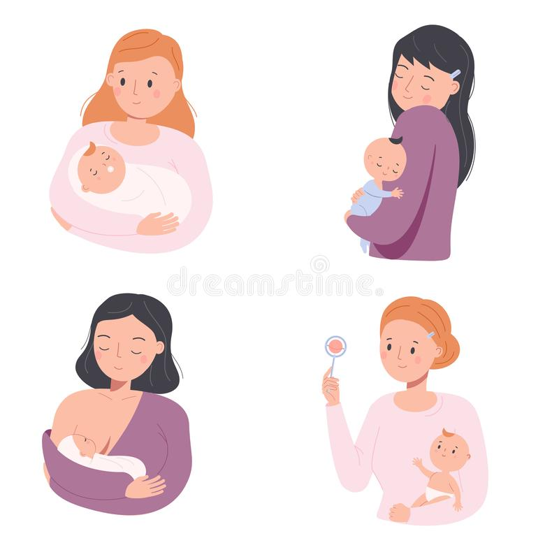 Mother with babies. Female nurse toddlers. Young moms and little children. Happy parenting characters. Maternity concept. Illustration vector illustration