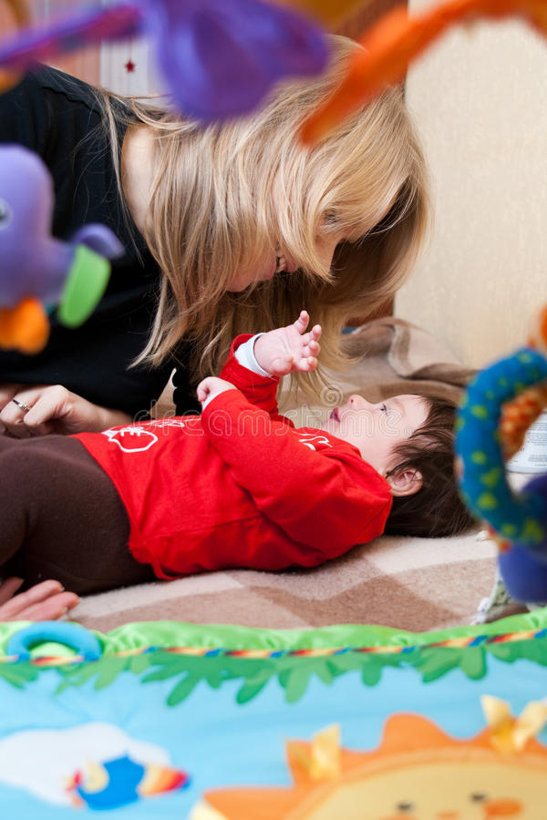 Download Mother and baby stock photo. Image of smile, blond, talks - 12682368