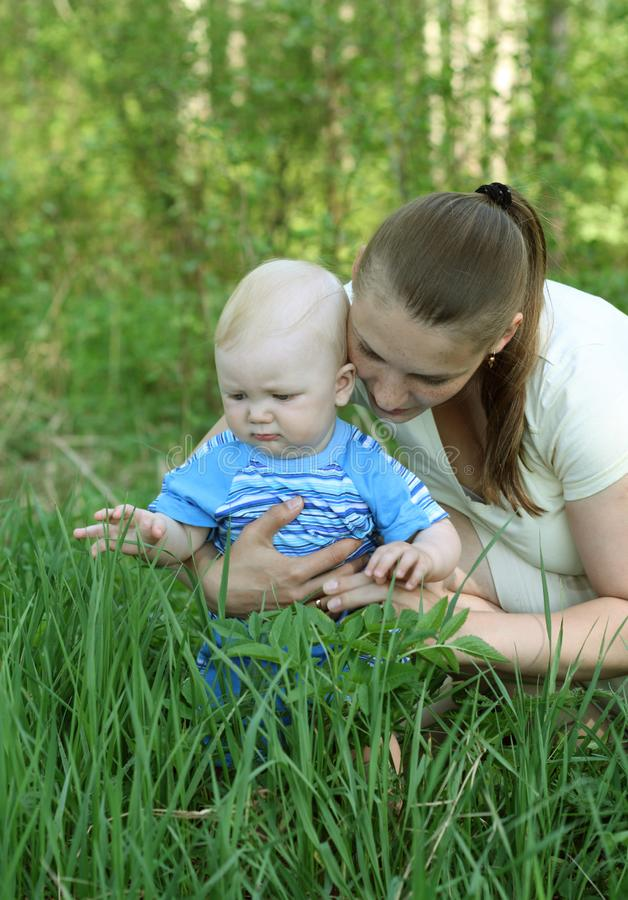 Download Mother with baby stock image. Image of parent, green - 14689257