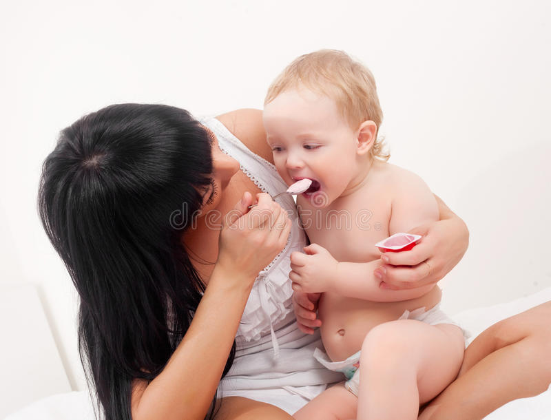 Download Mother and baby stock image. Image of laugh, feed, family - 18465437