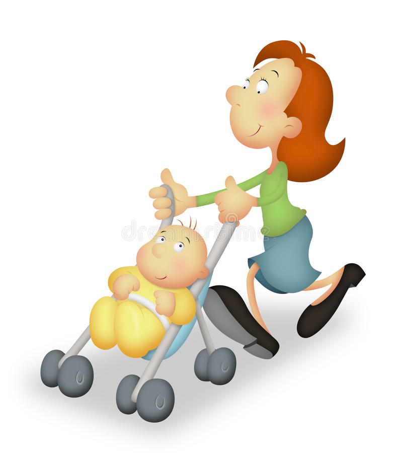 Mother With Baby. On stroller taking a walk stock illustration