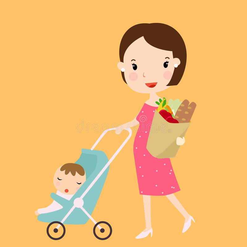A mother and baby royalty free illustration