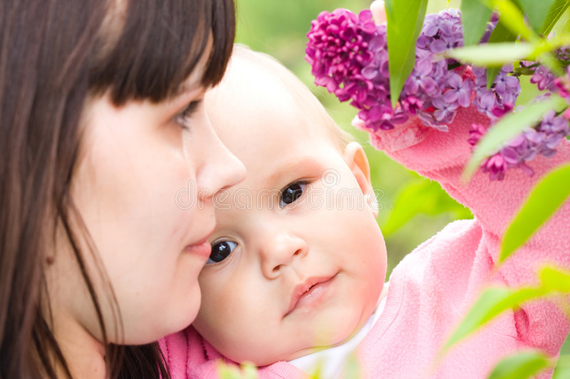 Download Mother and baby stock image. Image of green, garden, flower - 5263255