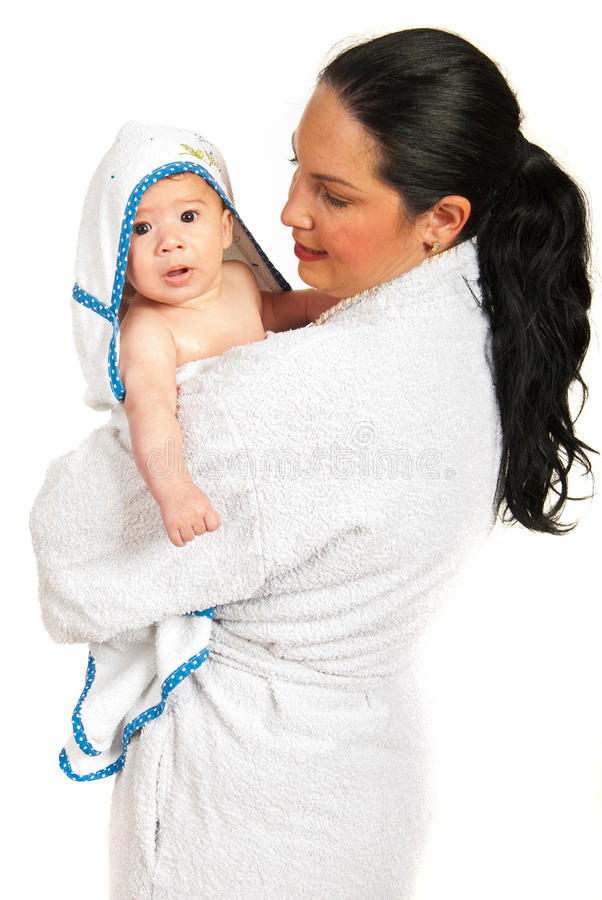 Download Mother And Baby In Bathrobes Stock Image - Image: 32097723