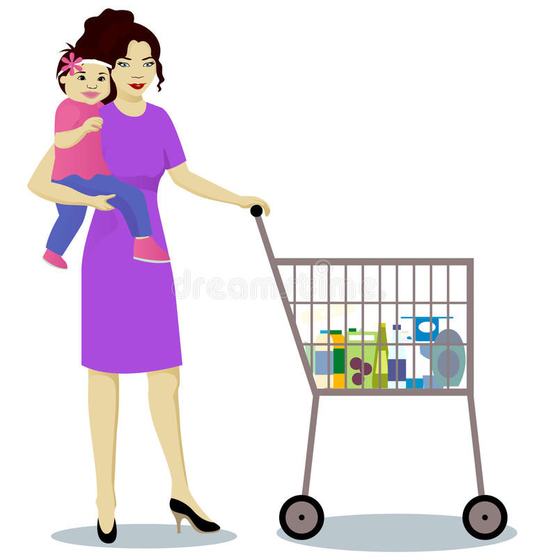 Mother and baby boy with shop trolley isolated. Vector stock illustration