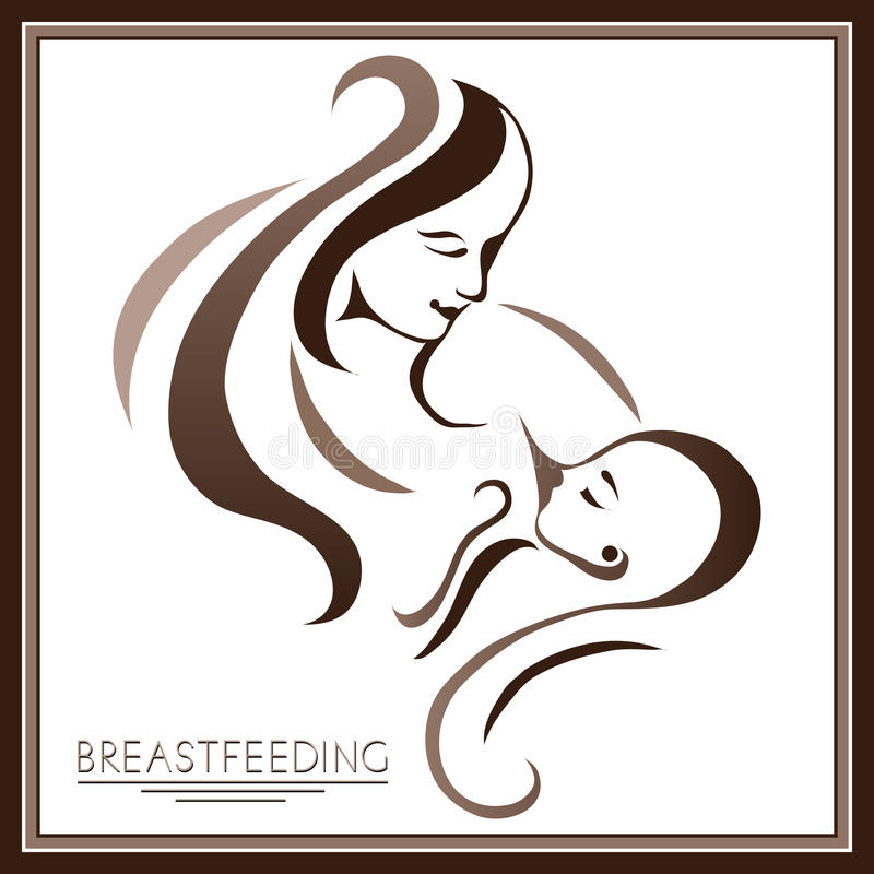 Mother with a baby (breastfeeding) 1. Breastfeeding symbol. Woman feeding baby. Mother and child together. Mother's milk for newborn baby. Concept of maternity royalty free illustration