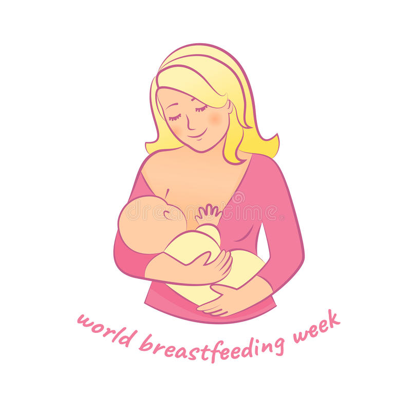 Mother and baby. Mother breastfeeding.World Breastfeeding Week illustration.Concept of motherhood.Vector illustration stock illustration